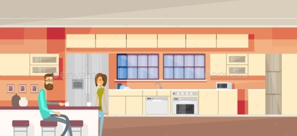 Couple in Modern Kitchen Interior - People Characters
