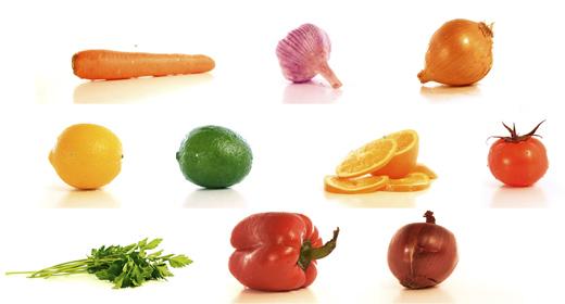 Fresh sliced  fruit and  vegetable