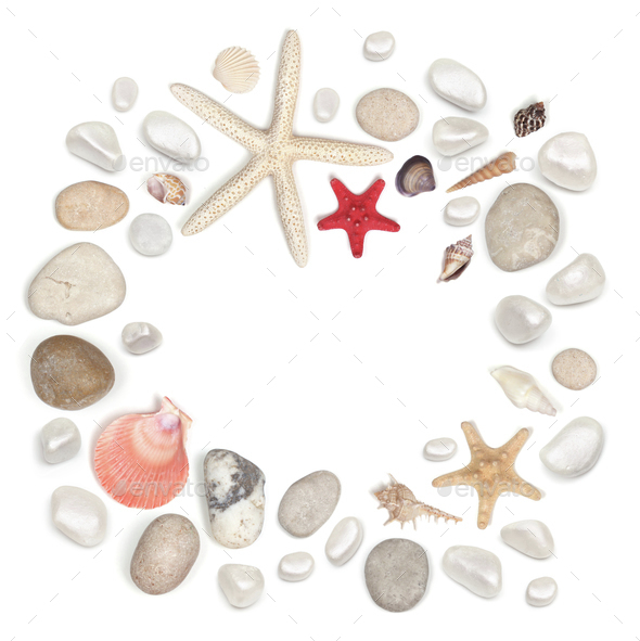 frame of stones and seashell isolated on white - Stock Photo - Images