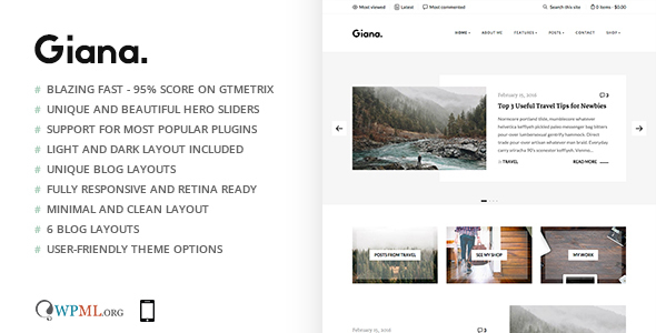 Giana - Minimal and Clean WordPress Blog Theme - Personal Blog / Magazine