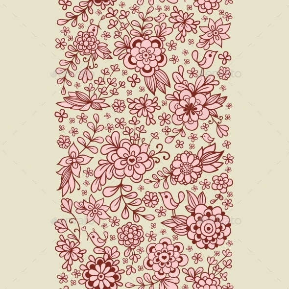 Vintage Floral Seamless Pattern - Flowers & Plants Nature