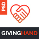 GIVINGHAND - Charity & Fundraising  PSD Template Nulled