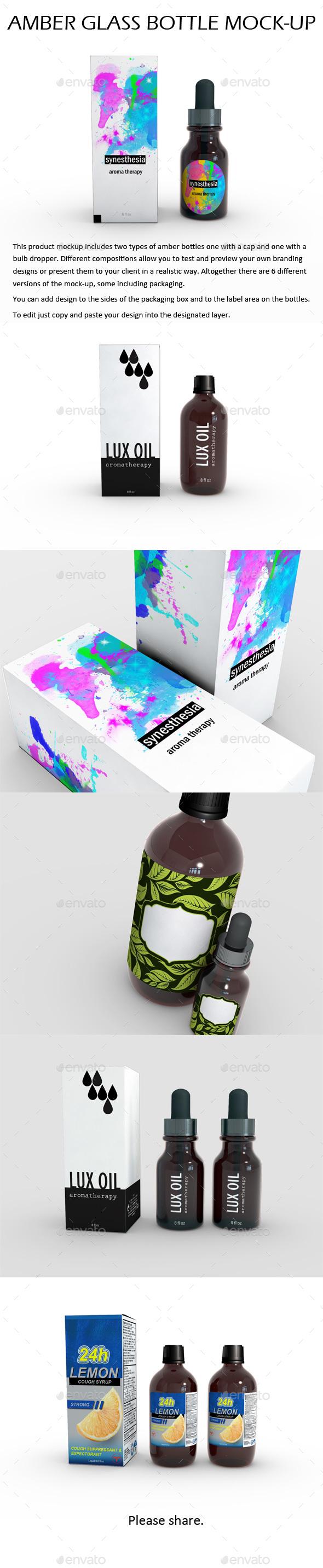 Amber Glass Bottle Mock-Up - Product Mock-Ups Graphics