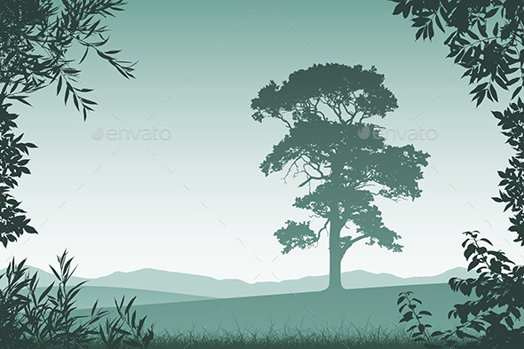Landscape with Lone Tree - Landscapes Nature