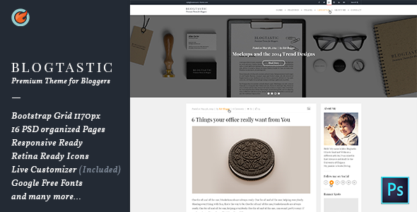 Blogtastic – Blog PSD Template.