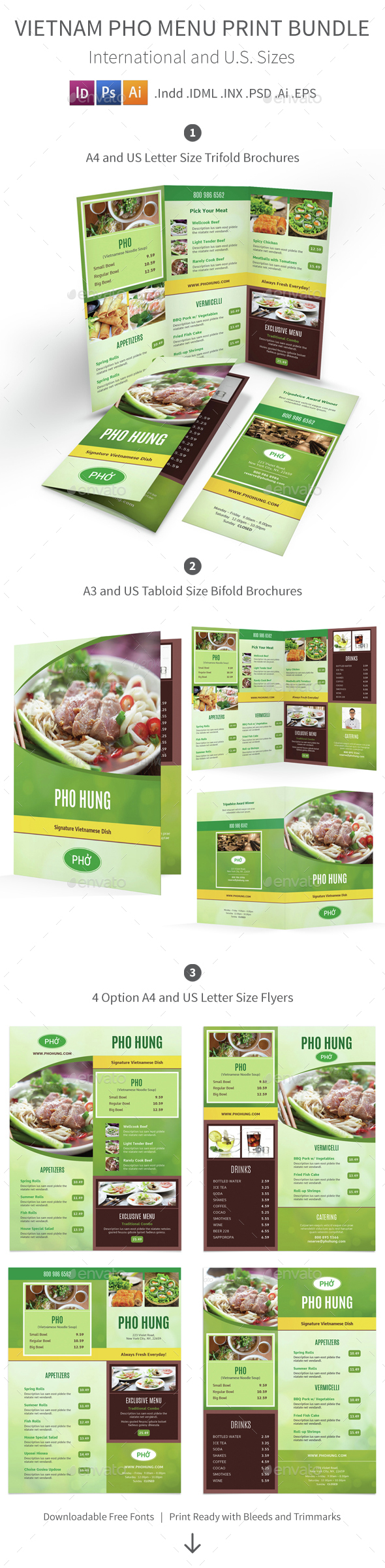 Vietnamese Pho Menu Print Bundle - Food Menus Print Templates