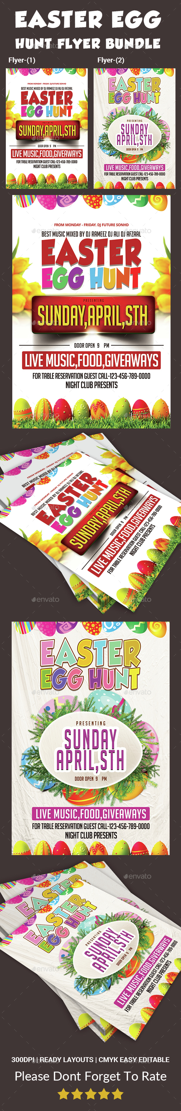 Easter Egg Hunt Flyer-Bundle - Events Flyers