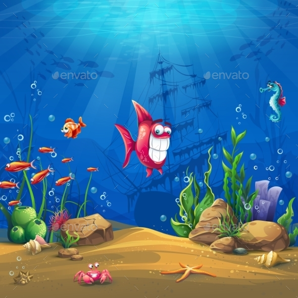 Underwater World with Fish Illustration - Landscapes Nature