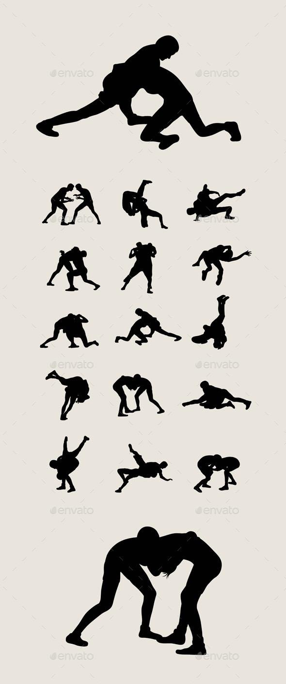 Wrestlers Fighting Silhouettes - Sports/Activity Conceptual