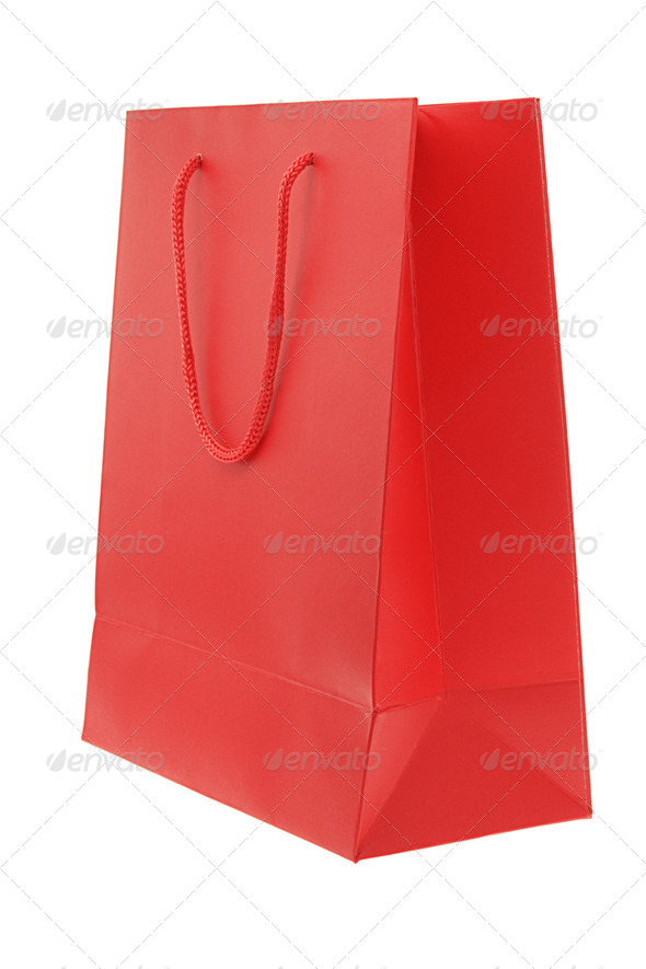 Red paper bag - Stock Photo - Images