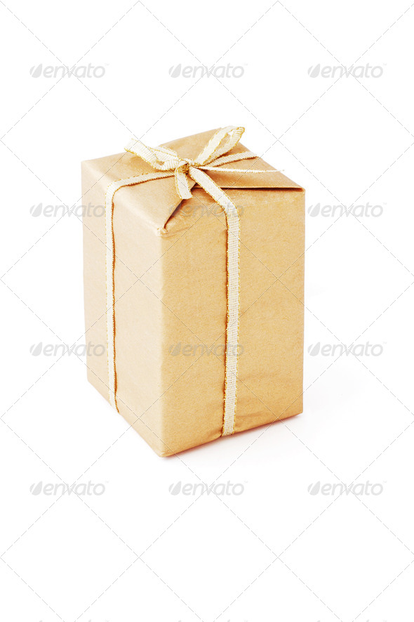 Brown color gift box - Stock Photo - Images