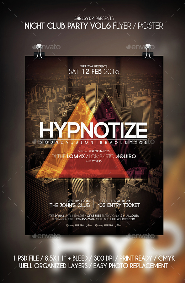 Night Club Party Flyer / Poster Vol 6 - Clubs & Parties Events