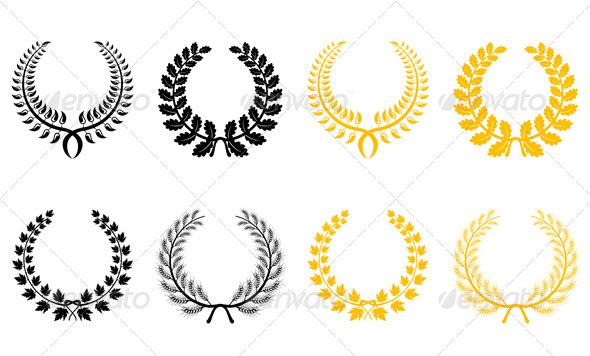 Set of laurel wreaths - Decorative Vectors