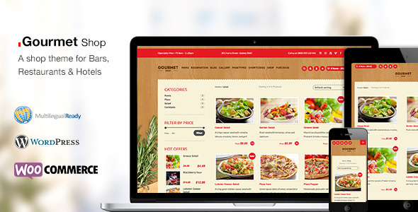 Gourmet Shop - Restaurant Bar Shop WordPress Theme - Restaurants & Cafes Entertainment