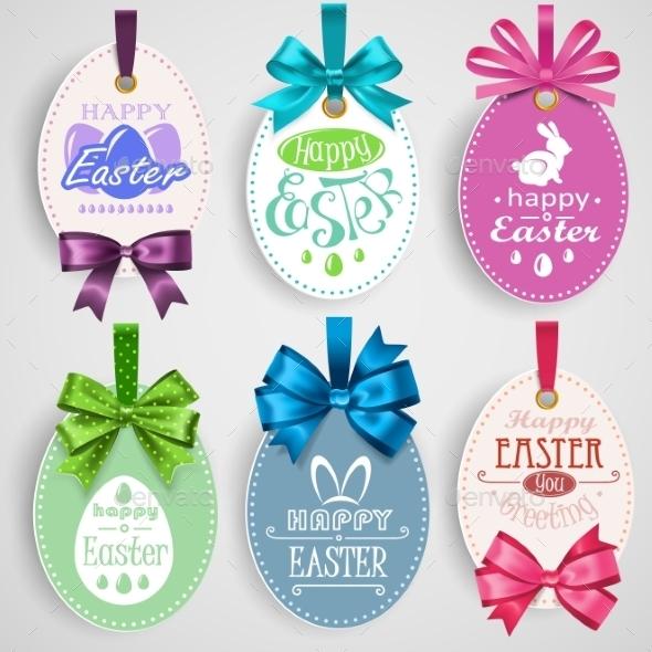 Easter Emblem with Bows - Decorative Symbols Decorative