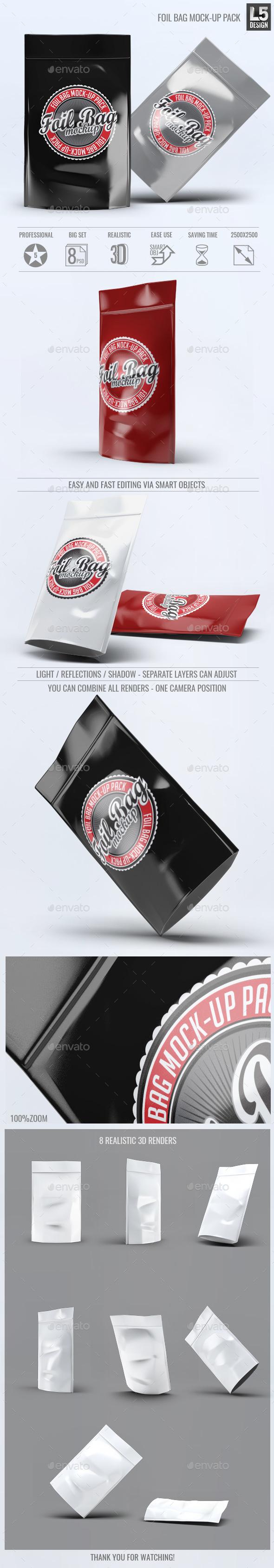 Foil Bag Mock-up Pack - Food and Drink Packaging