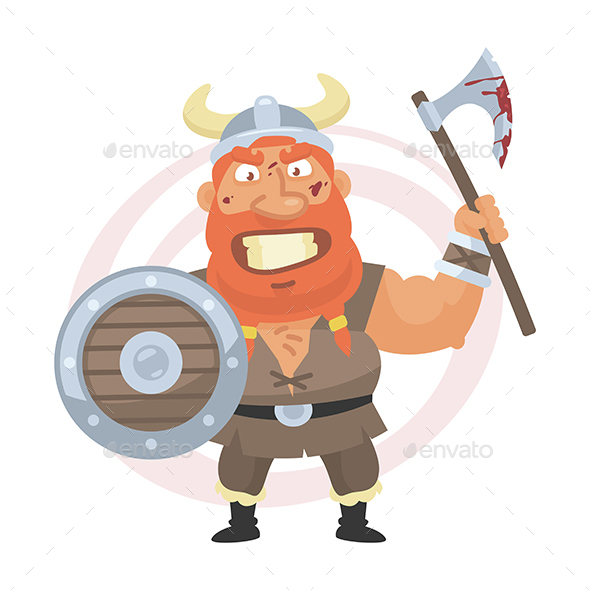 Angry Viking Holds an Axe - People Characters