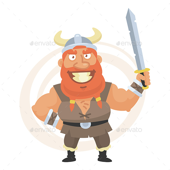 Viking Holds Sword and Smiles - People Characters
