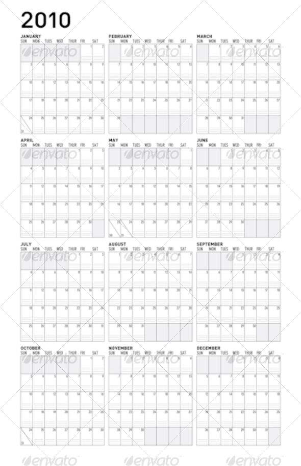 Simple 2010 calendar - Backgrounds Decorative