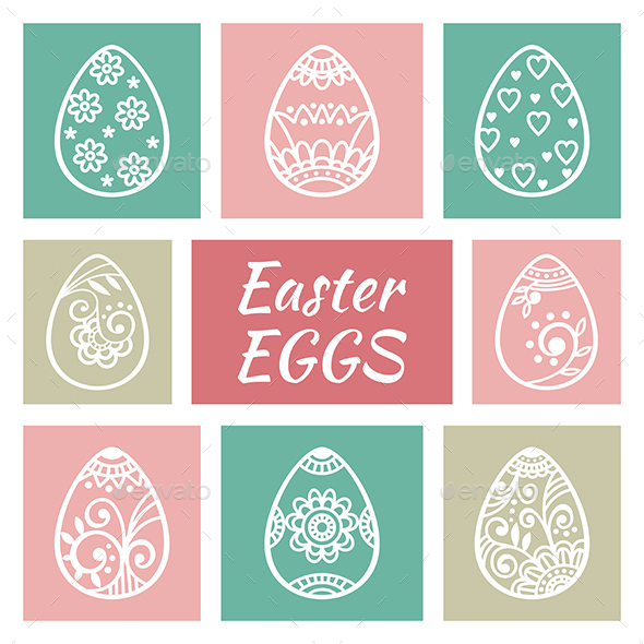 Set of Easter Eggs - Decorative Symbols Decorative