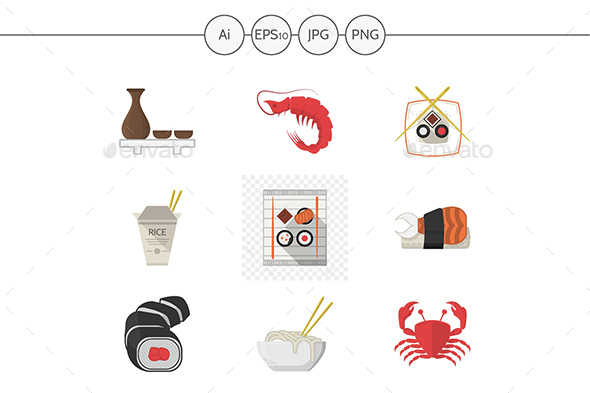 Seafood menu flat color vector icons - Food Objects