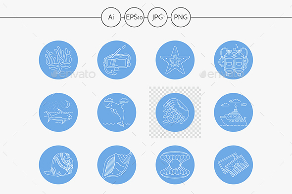 Underwater blue round vector icons - Miscellaneous Icons