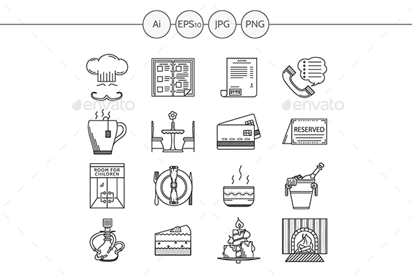 Restaurant and cafe black line vector icons - Miscellaneous Icons