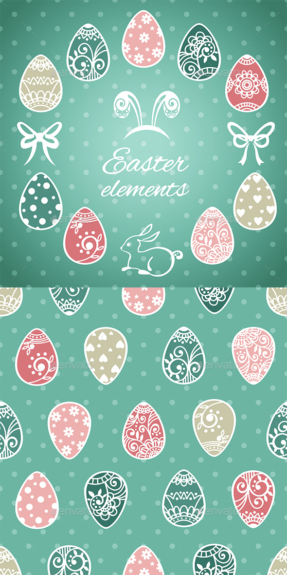 Easter Elements and Seamless Pattern - Miscellaneous Seasons/Holidays