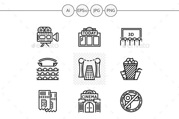 Cinema black line vector icons - Media Icons