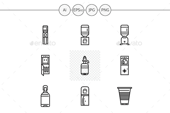 Water coolers black line vector icons - Man-made objects Objects