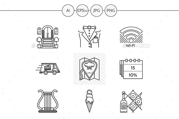 Restaurant services black line vector icons - Food Objects