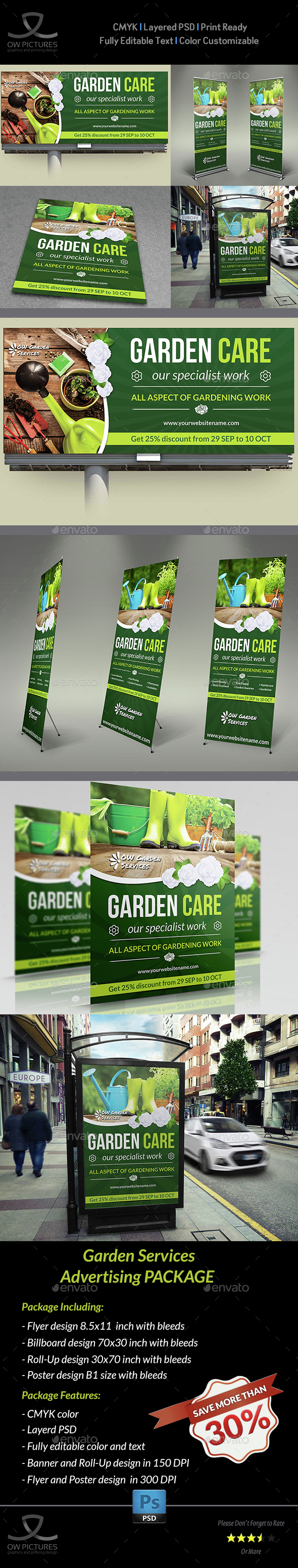 Garden Services Advertising Bundle - Signage Print Templates