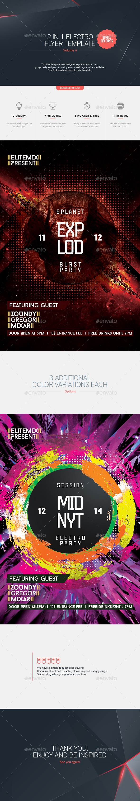 2 in 1 - Electro Flyer V.11 - Clubs & Parties Events