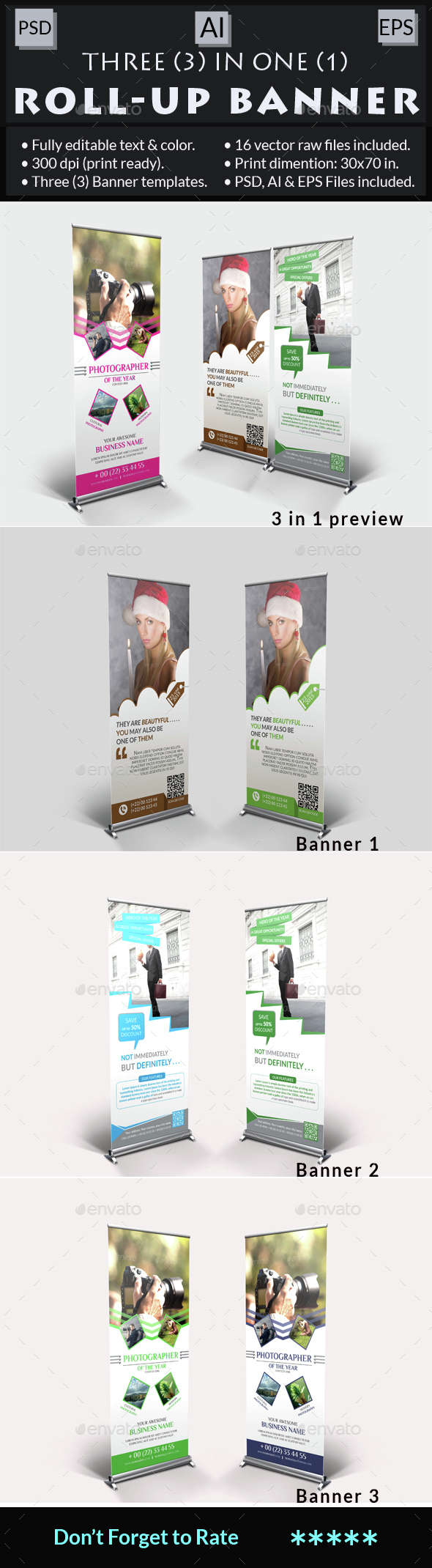 Multi-Purpose Roll-Up Banner Bundle - Signage Print Templates