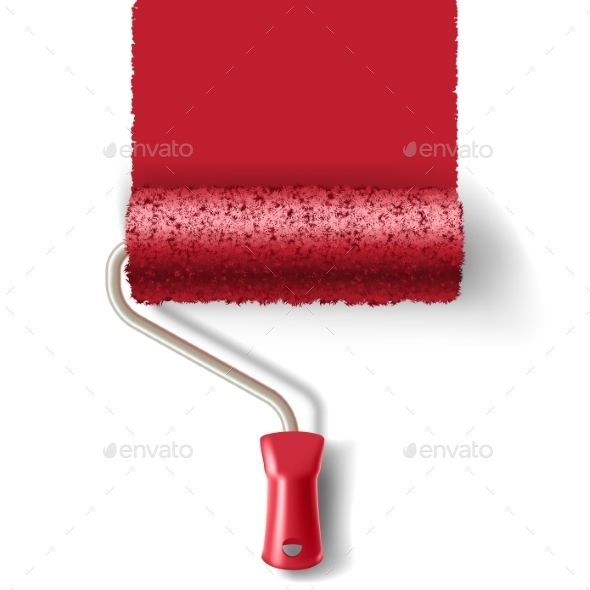 Paint Roller Brush With Red Paint Track - Backgrounds Decorative