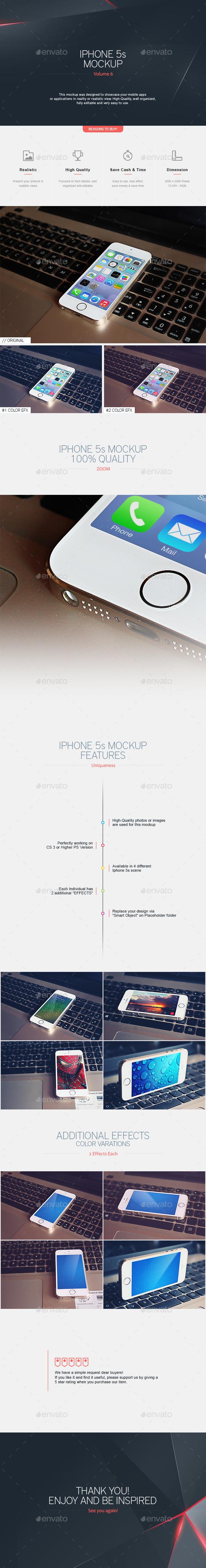 Phone 5s Mockup V.6 - Mobile Displays