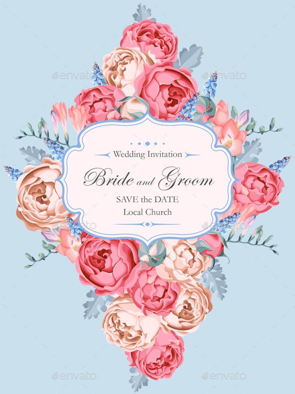 Beautiful Vintage Wedding Invitation Decorated With Peony Roses - Weddings Seasons/Holidays