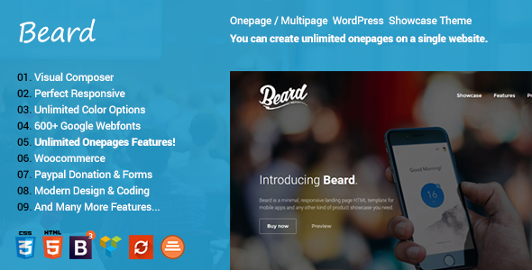 Beard Multipurpose Onepage | Multipage Responsive WordPress Theme