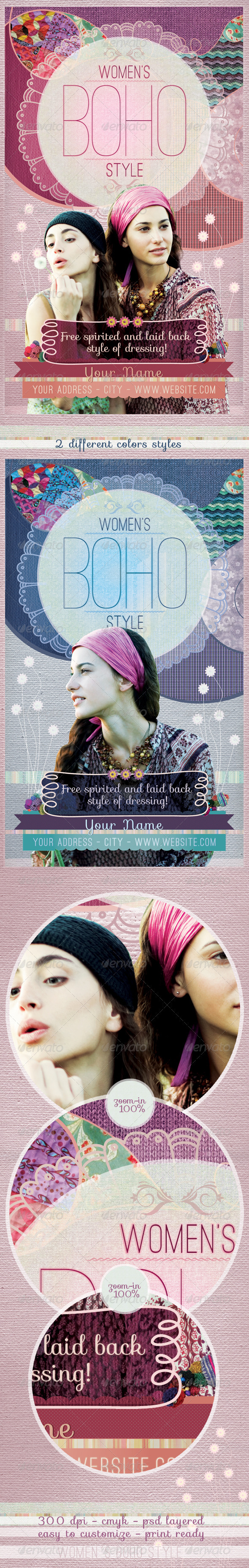 Women´s Boho Style Flyer Template - Clubs & Parties Events