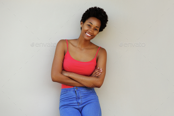 Stylish young african woman posing confidently - Stock Photo - Images
