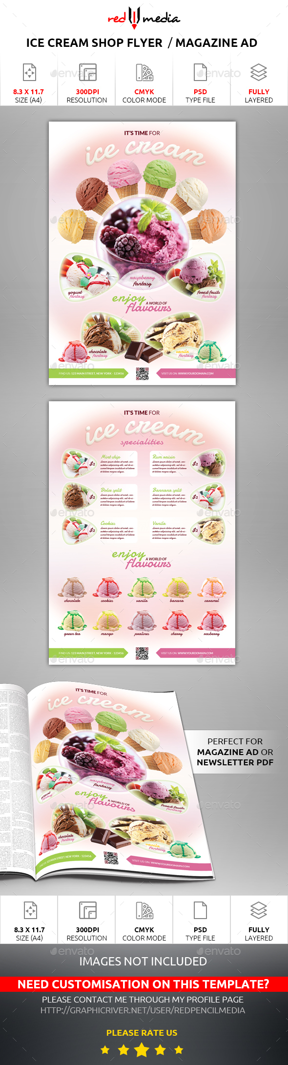 Ice Cream Shop Flyer / Magazine AD - Restaurant Flyers