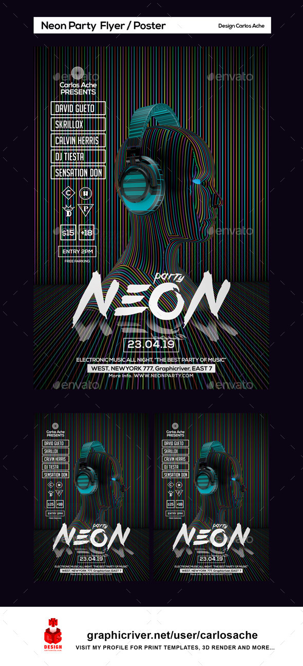 Neon Party Flyer and Poster Template - Clubs & Parties Events