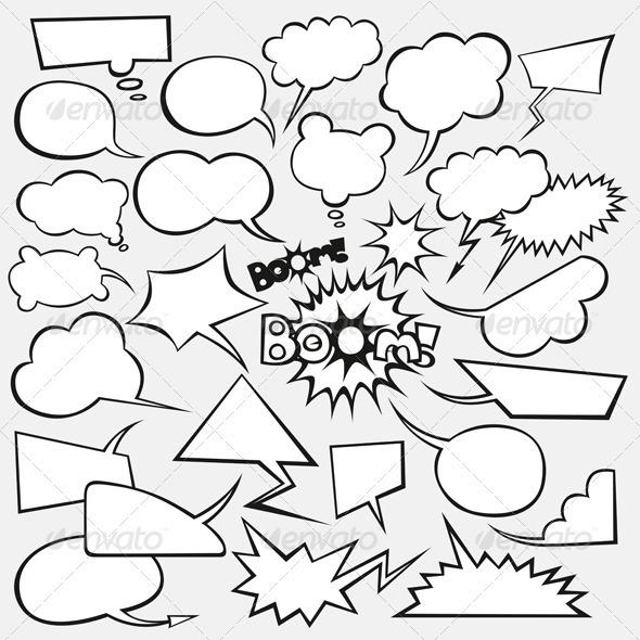 Vector Set of Comics Style Speech Bubbles - Decorative Vectors