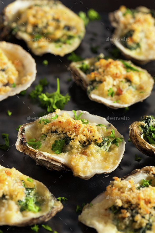 Homemade Creamy Oysters Rockefeller - Stock Photo - Images