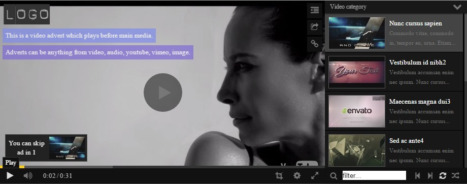 HTML5 Image Video Audio Gallery with Playlist
