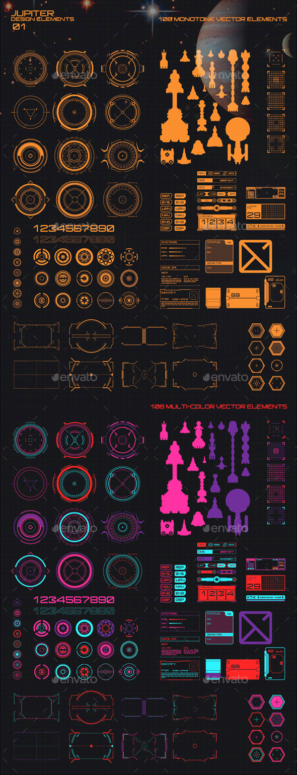 Jupiter HUD and High Tech Design Elements 01 - Technology Conceptual