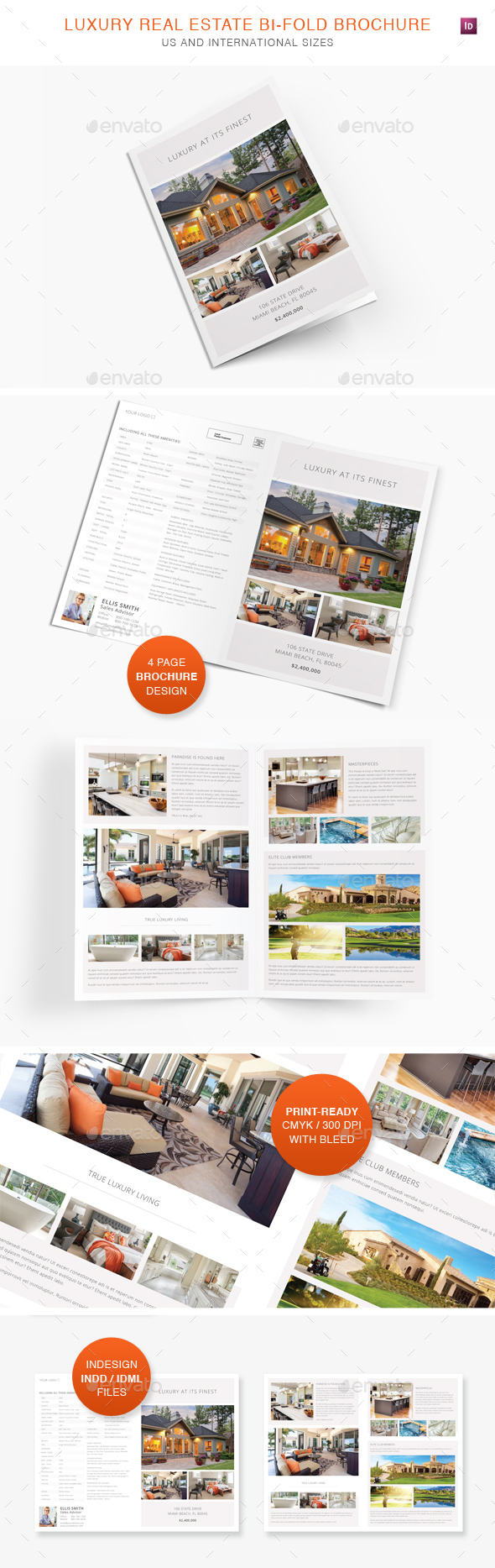 Luxury Real Estate Bi-Fold Brochure - Informational Brochures