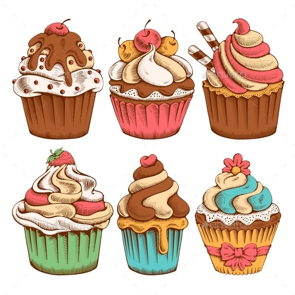 Cupcakes Set - Food Objects