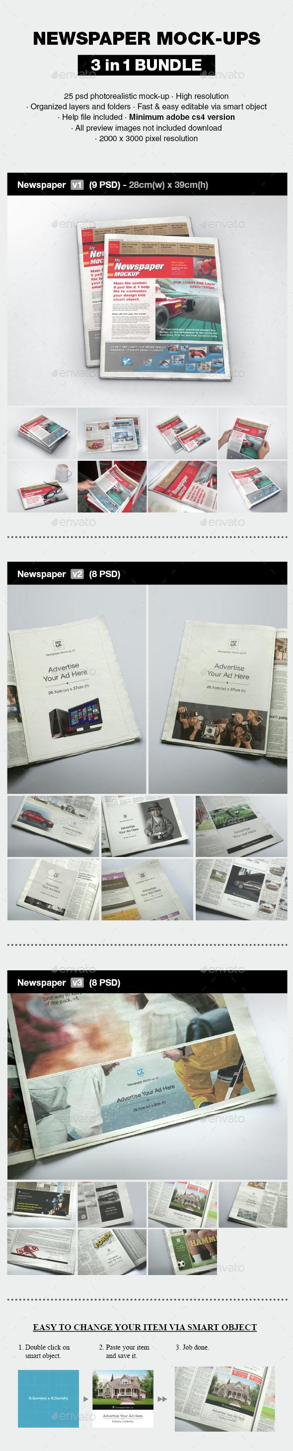 Newspaper Mock-up Bundle - Print Product Mock-Ups