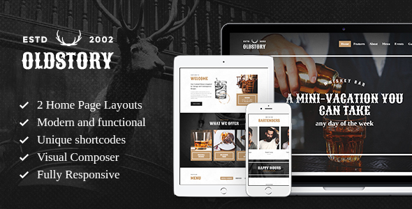 OldStory – Whisky Bar | Pub | Restaurant WP Theme